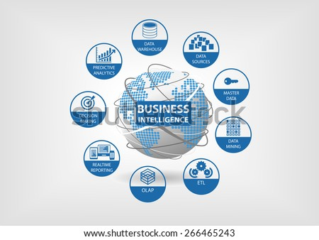 Business Intelligence concept with OLAP, data mart, ETL (extract transform load), realtime reporting, master data, data mining icons in flat design - stock vector