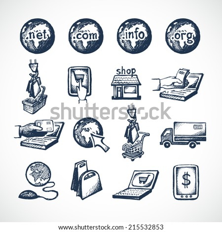 Business internet online shopping icons set of store domains product purchase paying and global delivery sketch vector illustration - stock vector