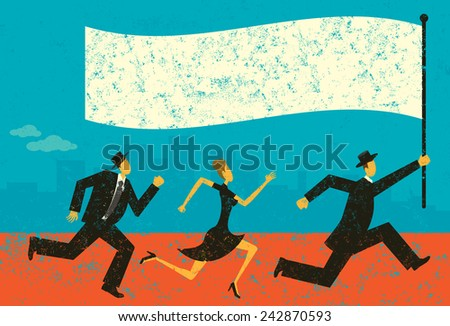 Business Leader Business people following their leader carrying a flag. The people and background are on separately labeled layers.  - stock vector