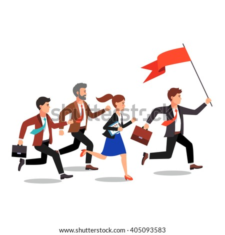 Business leader holding big flag and leading the way to his fellow colleagues businessman people.  Flat style vector illustration. - stock vector