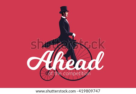 Business Leadership and Competitive Edge Concept. Elegant Businessman riding a retro bike. - stock vector