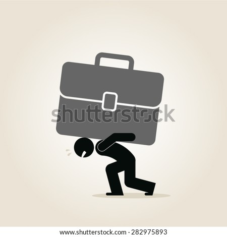 business, leadership, hard work, overworked, effort, entrepreneur, workaholic - stock vector