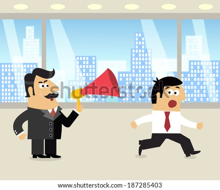 Business life boss with loudspeaker and running frustrated employee scene vector illustration - stock vector