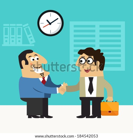 Business life chief executive hires employee handshake scene concept vector illustration - stock vector