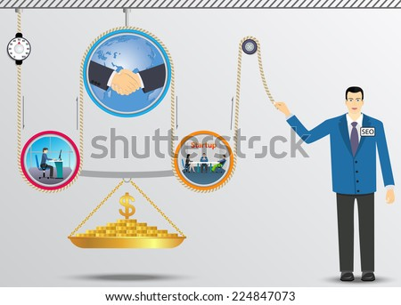 Business lifting mechanism of money. - stock vector