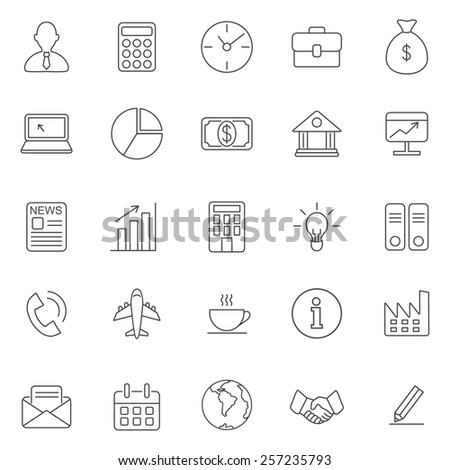 Business line icons set.Vector - stock vector