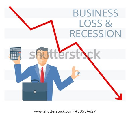 Business loss and recession flat vector concept illustration. Businessman is holding a coin in one hand and calculator in another. Manager with briefcase, money on the background of decreasing arrow. - stock vector