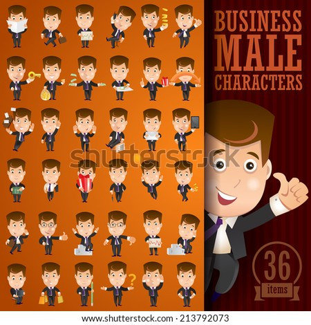 Business male character set. Businessman. - stock vector