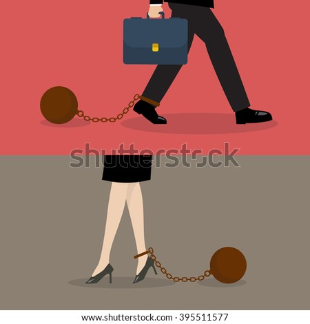 Business man and business woman with weight burden. Business concept - stock vector