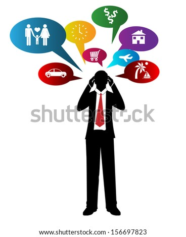 Business man and colorful bubble icon - stock vector