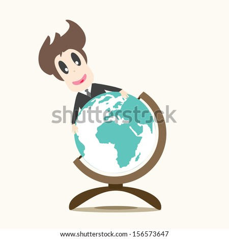 Business man and earth - stock vector