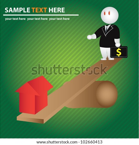Business man and house concept,Vector - stock vector