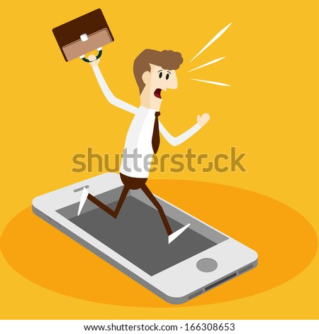 Business man and mobile phone in rush hour - stock vector