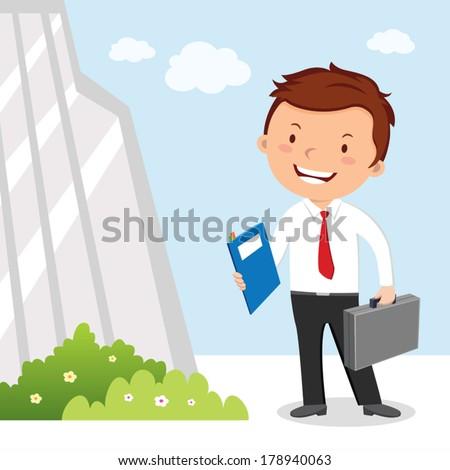 Business man and office building. Vector illustration of a confident young man with his resume, going for interview. - stock vector