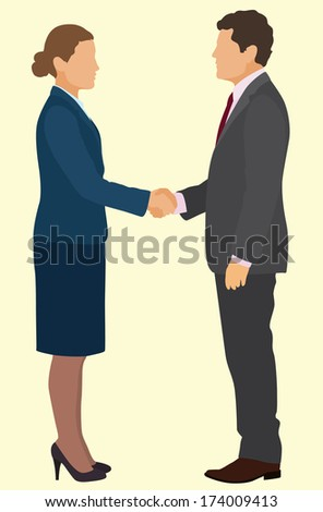 Business Man And Woman Shaking Hands - stock vector