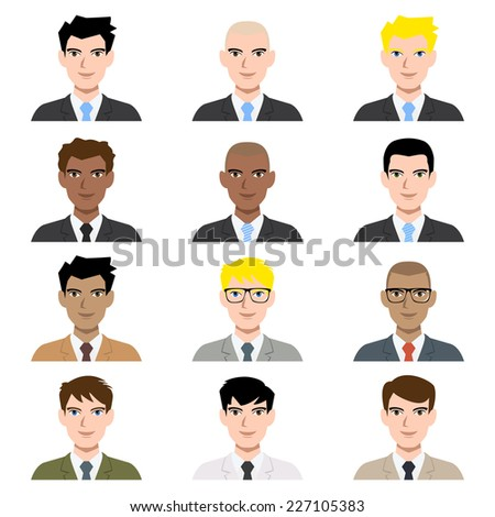 Business man avatar, vector illustration set collection - stock vector