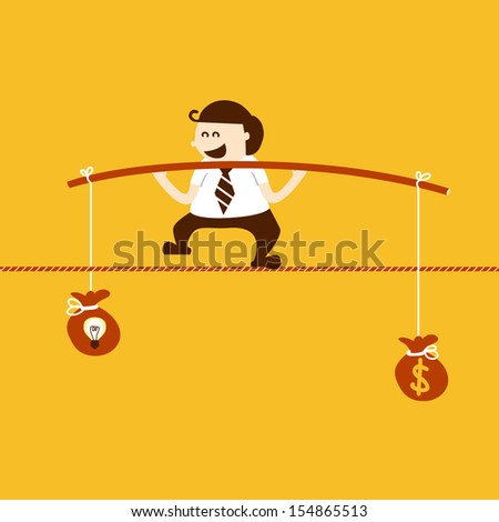 Business man balancing on the rope with idea and money, EPS10 vector format - stock vector