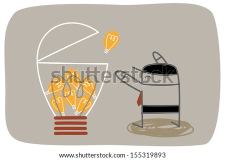 Business man brainstorm idea to make a big success innovation - stock vector