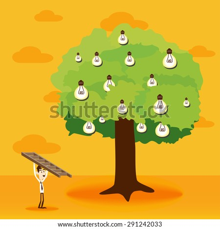 Business man bring ladders to climb light bulb idea tree - stock vector