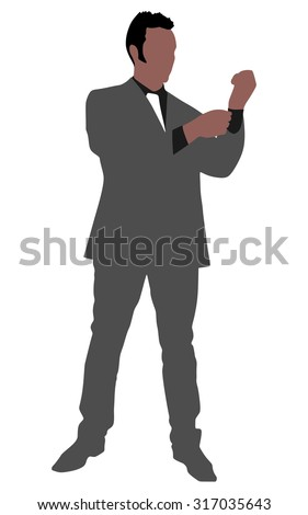 business man buttoning his sleeve and getting ready to work, vector - stock vector