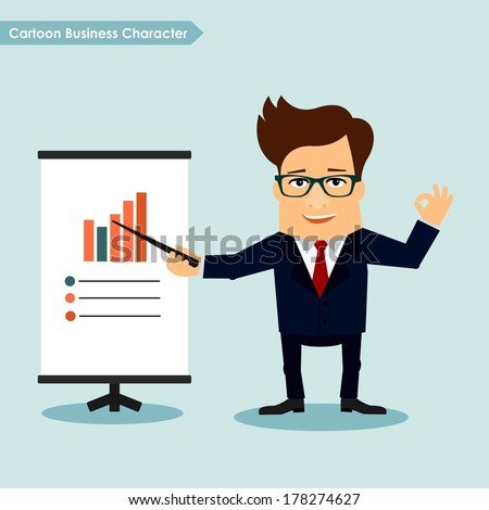 Business man cartoon character presentation concept - stock vector
