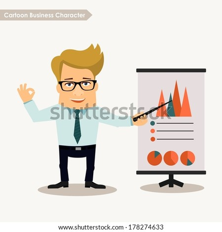 Business man cartoon character. Presentation concept - stock vector