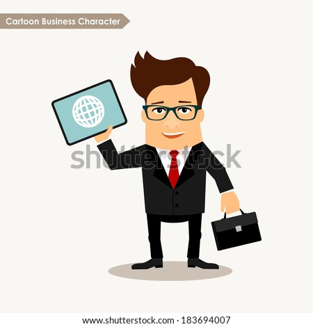 Business man cartoon character vector illustration. Global connection concept - stock vector