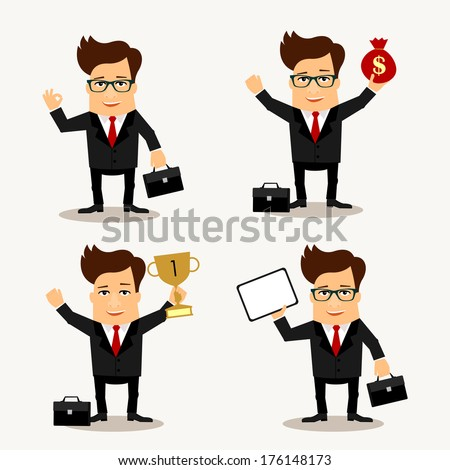 Business man cartoon characters in different poses - stock vector