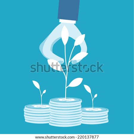 Business man catch tree piles of coins  - stock vector