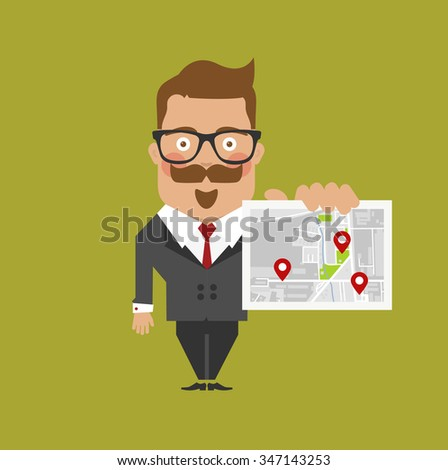 business man character with glasses holds map with destination pins - stock vector