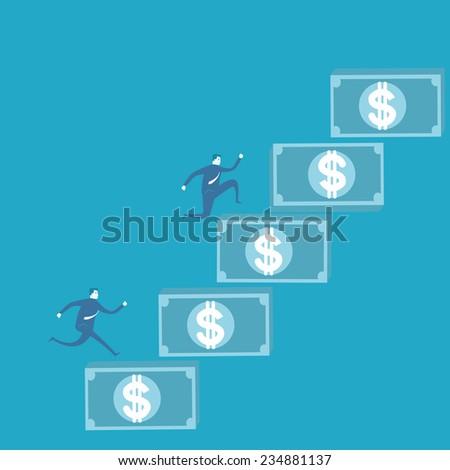 Business man climb money - stock vector