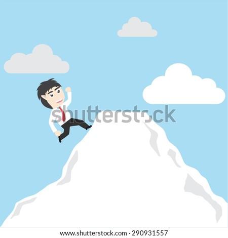 Business man climbs a mountain - stock vector