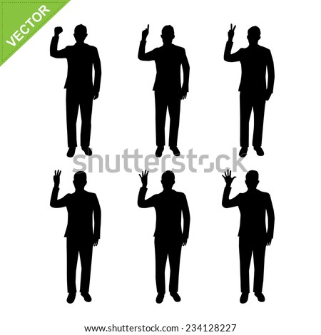 Business man count number silhouette vector - stock vector