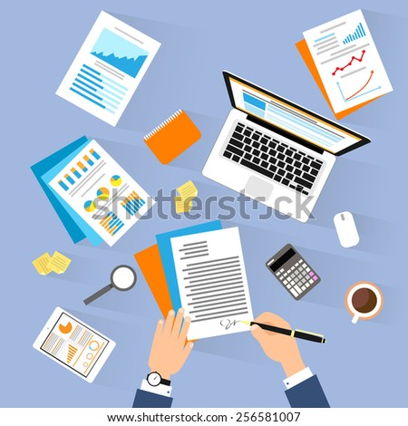 Business man document signing up contract agreement, Businessman laptop workplace top angle above view sitting at office desk work vector illustration - stock vector