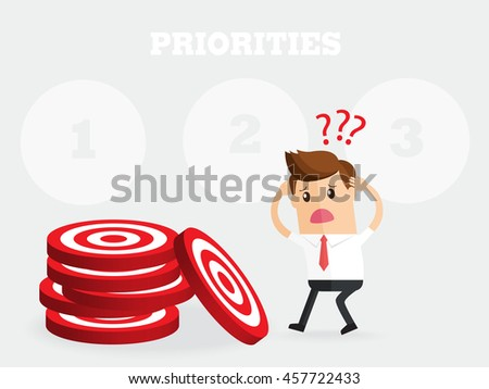 business man does not know what to do first.  prioritize when everything is a priority - stock vector