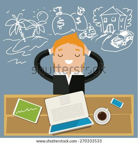 Business man dreaming. Concept of big dreams - stock vector