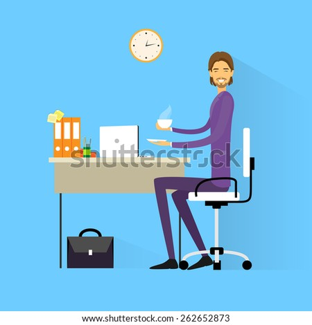 business man drink coffee sitting at desk in office working laptop computer flat vector illustration - stock vector