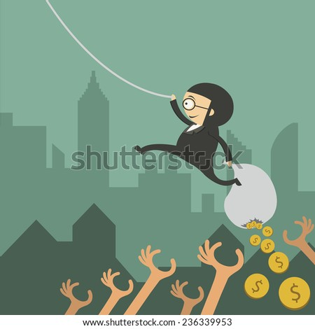 business man dropping coins into another hand - stock vector