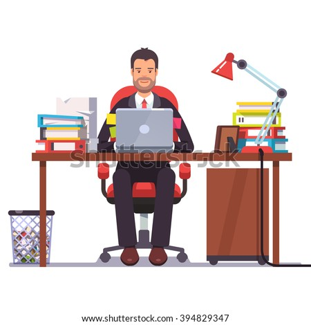 Business man entrepreneur in a suit working at his office desk. Flat style modern vector illustration. - stock vector