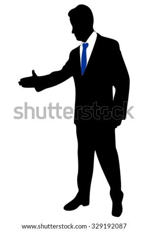 Business man extending hand to shake - stock vector