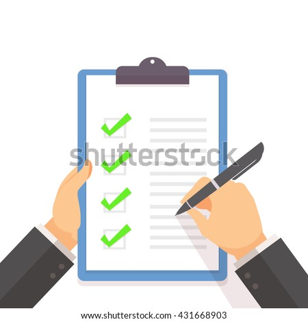 Business man fill the green check list on the clipboard with hand holding concept flat style vector illustration - stock vector