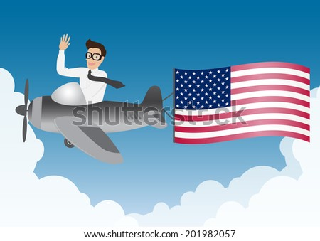 business man flying on airplane with United Stated flag in blue sky and clouds, vector. - stock vector