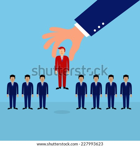 business man hand choosing right man,human resource concept,illustration,vector - stock vector
