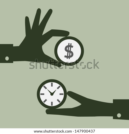 Business man hand exchanging time and money to each other. Abstract background. Vector illustration. - stock vector
