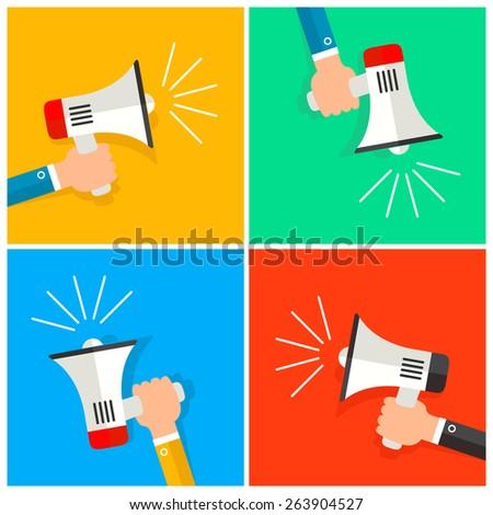 business man Hand holding a megaphone on flat card set. vector illustration - stock vector