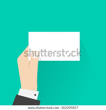 Business man hand holding card mockup template vector illustration, showing blank calling card, empty visiting card, small paper sheet frame, flat sign design isolated on green - stock vector