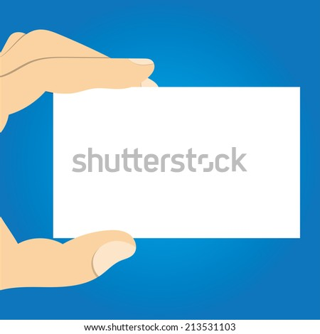 Business man hand showing business card with space for text and detail  - stock vector