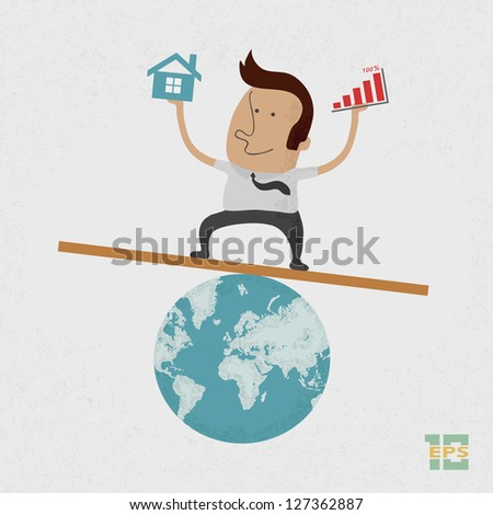Business man handing Graph over and home on earth , eps10 vector format - stock vector