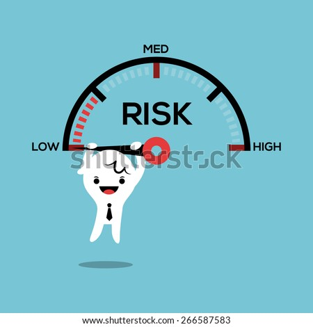 business man hanging on needle speed gauge low risk management conceptual illustration - stock vector