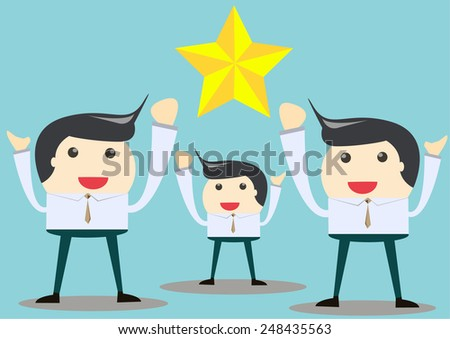 business man happy in complete project - stock vector